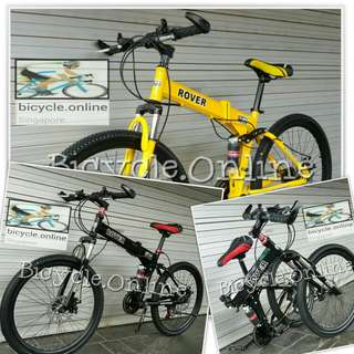 "Foldable ROVER 24"" & 26"" Mountain Bikes / MTB ✩ full suspension, Shimano 21 Speeds shifters, Disc Brakes ✩ Brand New Bicycles"