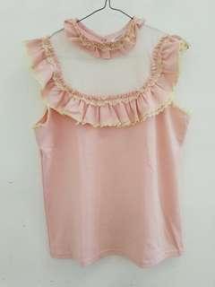 Soft pink ruffle mesh top