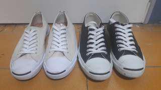 Converse x jack purcell荔枝皮革開口笑帆布鞋 米白/黑色 平民版rick owens