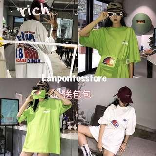 夏裝女裝韓版原宿風bf寬松字母印花短袖蹦迪T恤學生上衣潮送包包