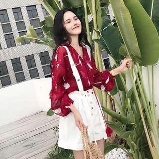🚚 (特價)韓版V領雪紡襯衫長袖上衣吊帶褲短褲