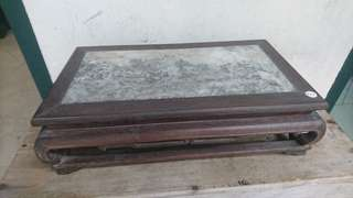 Antique Chinese blackwood and marble display stand