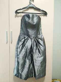 Metalic Gunmetal Grey Tube Dress
