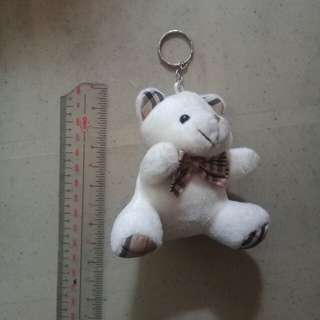 White Teddy Bear Keychain