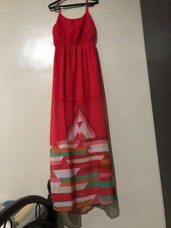 Love Fire Maxi dress with slit,fits to small to medium