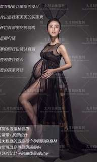 Black tulle dress for maternity shoot