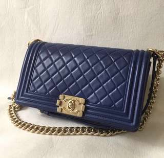 Chanel boy old medium lambskin blue with GHW