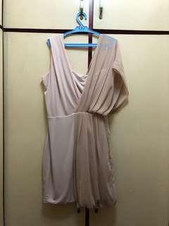 Tyler Jersey and Chiffon Short Dress in Blush Pink
