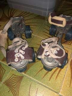 Vintage SEIKO Roller Skates Real Leather Antique Metal