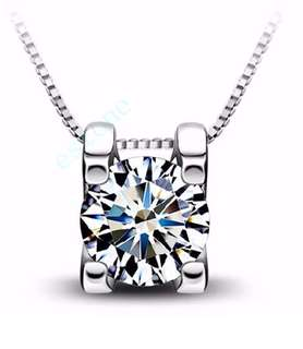 Chic Silver Plated Crystal Love Necklace AAA Cubic Zirconia Pendant