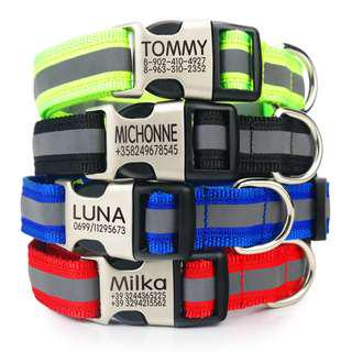 Personalized Reflective Collar W Laser Deep Engraved Buckle For Small Medium Large dogs & Cats