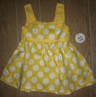 yellow white polka dot top