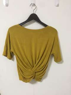 Cropped Knotted Top in Mustard