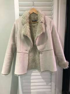 Suede look coat / jacket with fur detail Sz 8