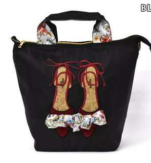 🚚 [BNIB] Mis Zapatos B-6640 Black Flora Ribbon 3-way Backpack Tote Bag Shoulder Bag