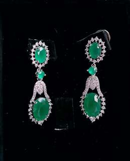 Royal Earrings in Jade and Signity set in Plated 10k Gold