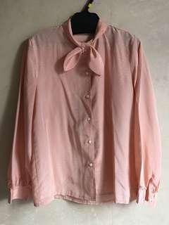 購自日本古著粉紅色條紋暗花襯衫9成新日本製