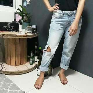 H&M low waist boyfriend distressed jeans