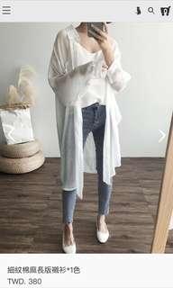 轉賣貓咪曬月亮*細紋棉麻長版襯衫*白色