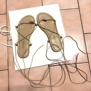 🚚 正韓 杏色綁帶平底涼鞋