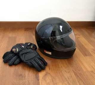 Leather jacket & helmet set