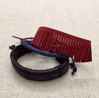 Leather & Woven Bracelet Set - 3 pcs