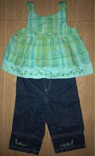 Green plaid set for baby girl