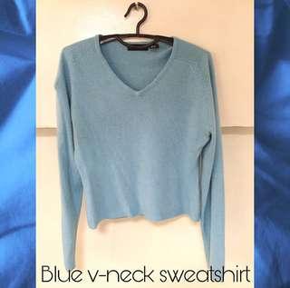 Blue v-neck sweatshirt