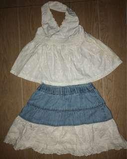 White eyelet skirt blouse set