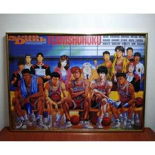 早期經典漫畫 井上雄彥 SLAM DUNK 灌籃高手 湘北隊 全員合照 鋁框海報