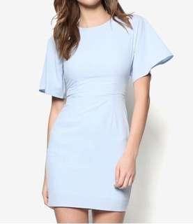 Zalora fluted sleeve sheath dress