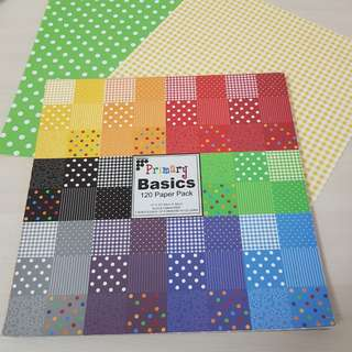 Scrapbook paper - 12in × 12in. Primary basics paper pack