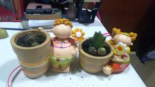 Twin Siblings Pots with Cacti