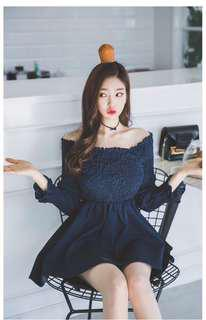 Off shoulder dress in Navy blue