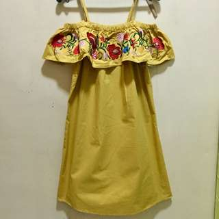 Off-shoulder mustard dress