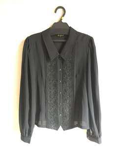 購自日本古著黑色繡花襯衫9成新