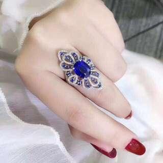 香港預展 18k藍晶鑽石戒指