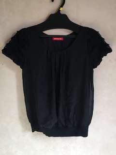 購自日本Apuweriser-riche黑色蕾絲䄂上衣約8成新