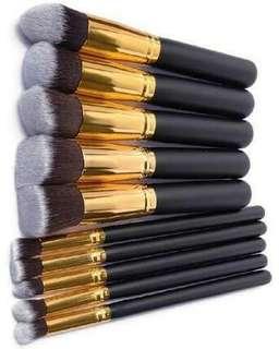 10 pcs Kabuki Make-up Brushes