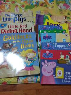 4 fairy tale and 5 peppa pig books