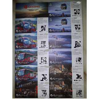 Genting Vouchers for Skyway, Bus Ride and Meals. Price reduced