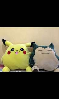 1 pc snorlax and 1 pc pikachu pillow blanket