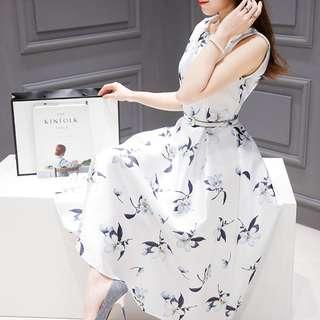 [PRE-ORDER] Women Floral A Cut Skirt Sleeveless Slim Waist Ladies Fashion Plus Size Dress [White/Green]