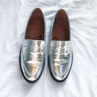 H&M silver loafers