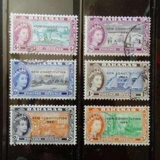 [lapyip1230] 英屬巴哈馬 1964年 新憲法加蓋票 舊票至伍仙令 VFU