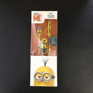 Minion 神偷奶爸小黃人系列快充傳輸USB綫 Type-C + Micro USB