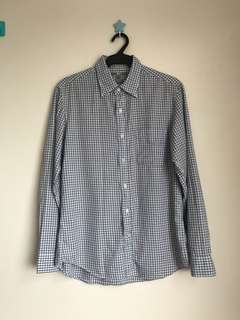 Uniqlo checkered slim fit long sleeve medium size