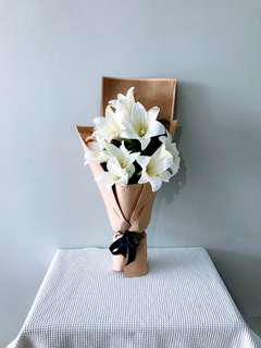 #030 White Lily Bouquet