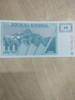 Slovenia 10 Tolar 1990 issue
