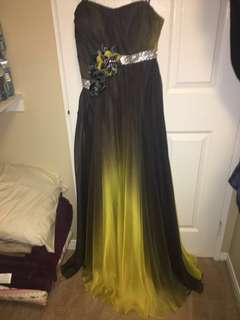 Grey and yellow/ chartreuse gown/ dress with crystala